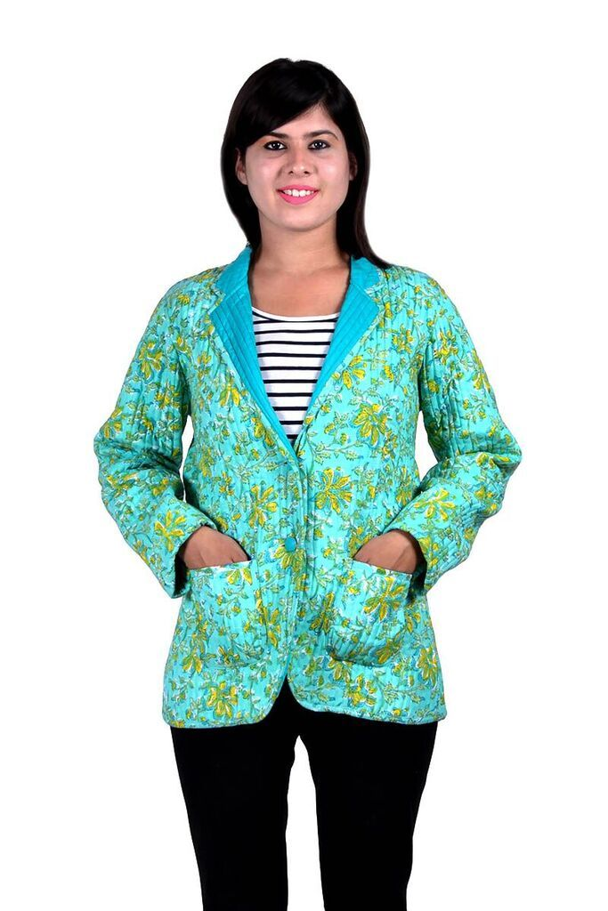 Sea Green Floral Quilted Jacket For Women