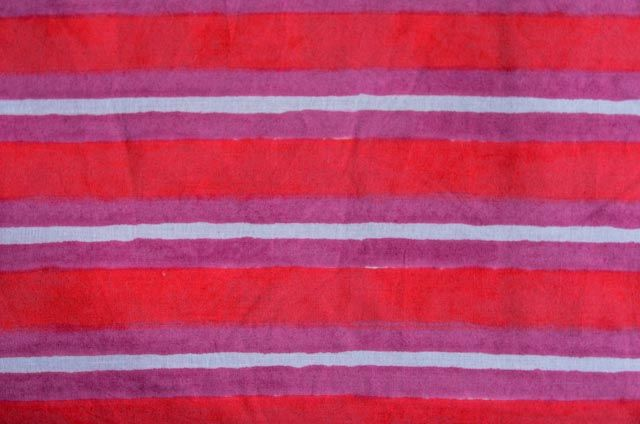Red And Violet Striped Block Print Fabric
