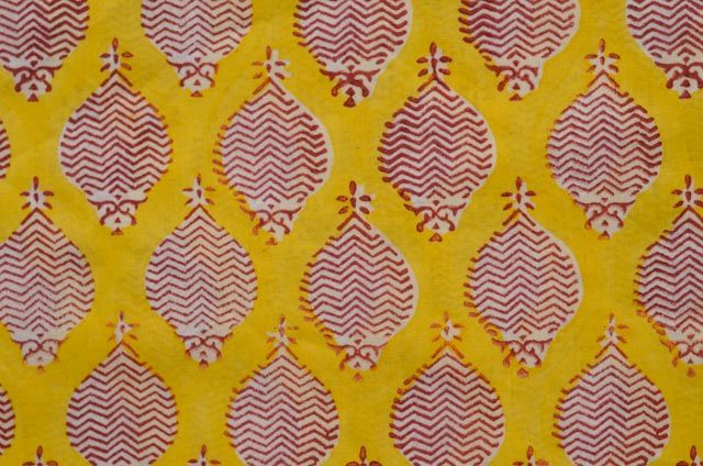 Yellow And Red Fish Block Print Mulmul Fabric