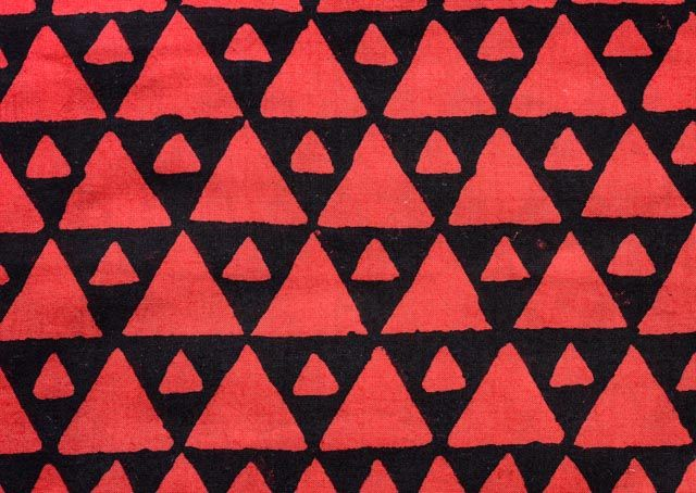 Black & Red Triangle Print Rayon Fabric By The Yard