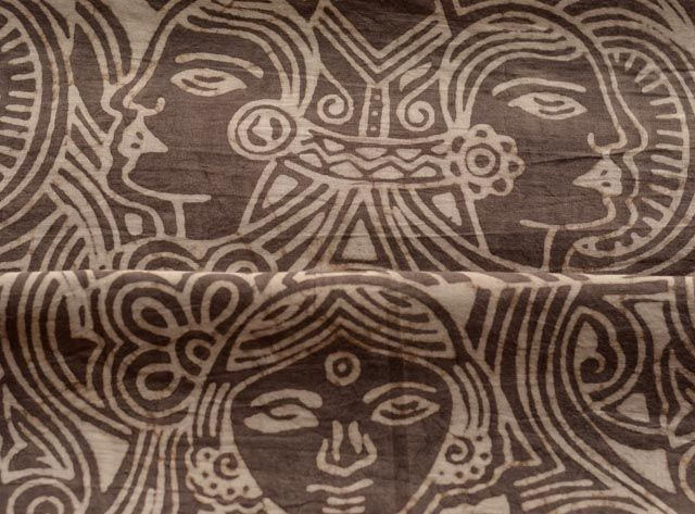 Dark Grey And White Face Cotton Block Print Fabric