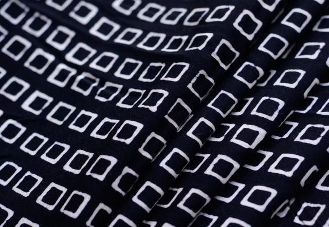 Black And White Square Print Rayon Fabric By The Yard