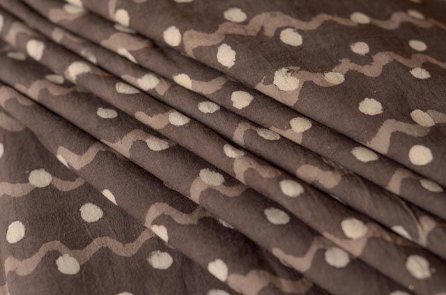 Dark Grey Circle And Waves Cotton Fabric