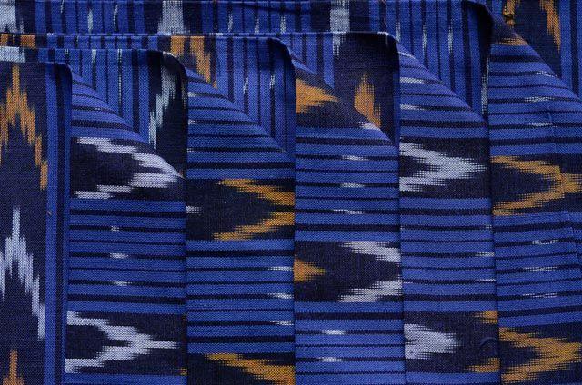 Regal Blue  Striped Ikat Fabric By The Yard