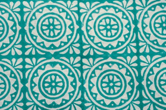 Turquoise Block Print Cotton Upholstery Fabric