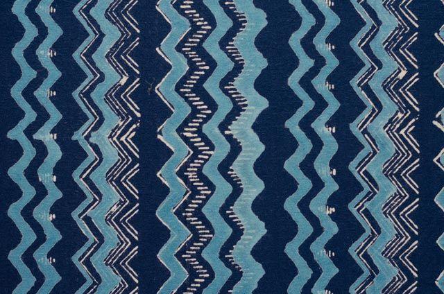Blue Zig Zag Block Print Indian Fabric