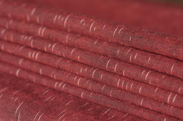 Red Wood And White Ikat Fabric