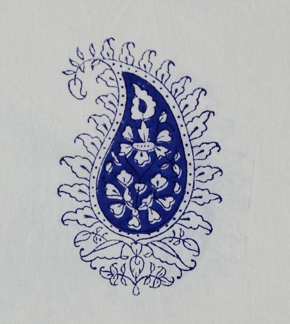 Blue Ink Paisley Cotton Upholstery Fabric