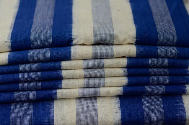 Blue And White Striped Double Ikat Fabric