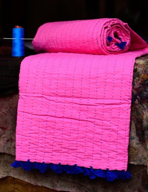 Six Layer Mulmul Pink Kantha Throw