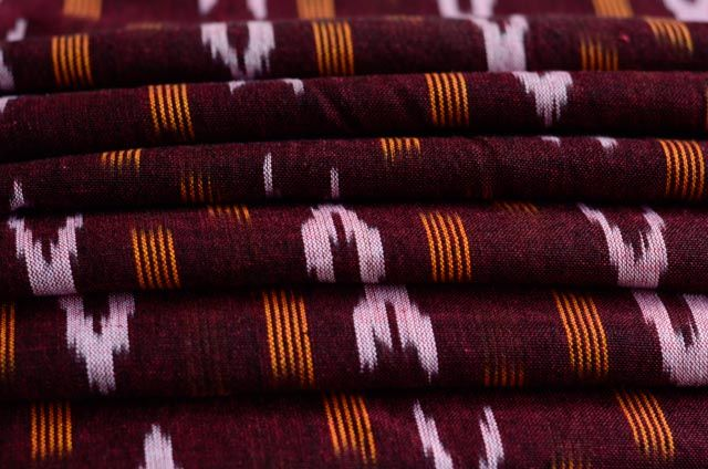 Brownish Maroon Ikat Fabric By The Meter