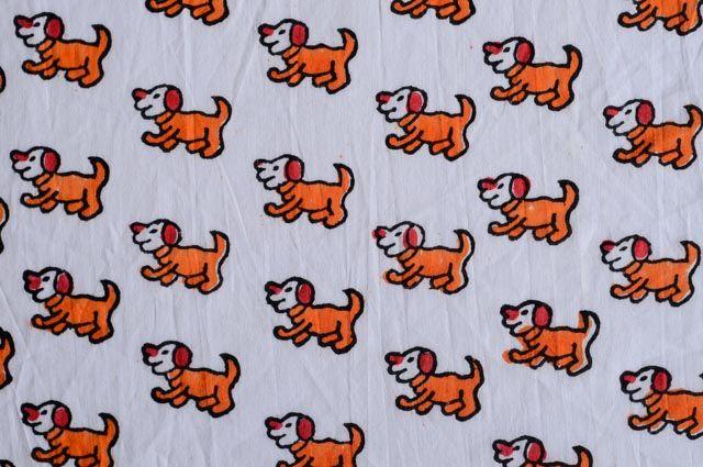 Red And Orange Dog Block Print Mulmul Fabric