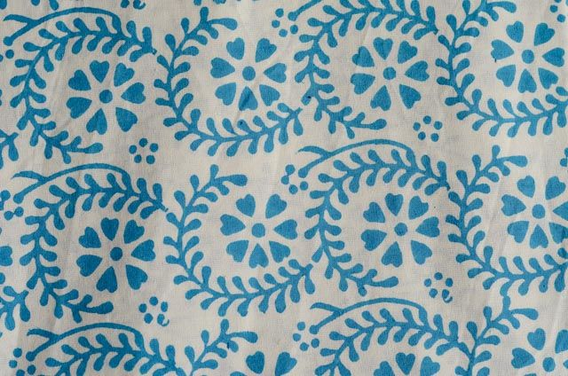 White And Sky Blue Floral Block Print Fabric