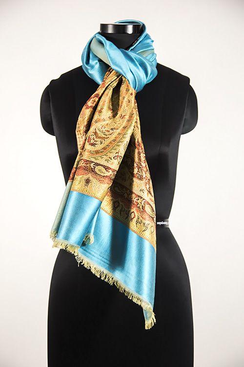 Designer Sea Blue Fashion Scarves For Women