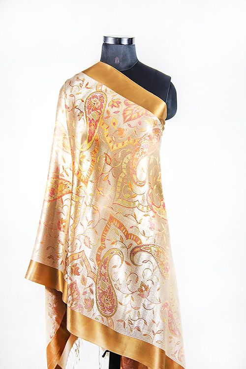 Golden Brown Silk Scarves For Women