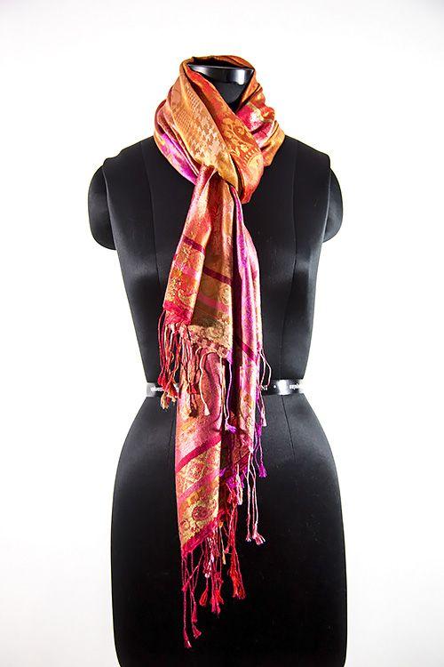 Multicolor Pink Orange Designer Silk Scarves