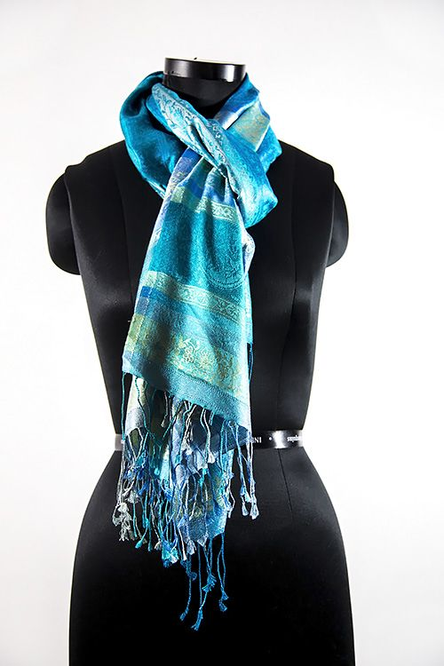 Rich Blue Designer Silk Scarves
