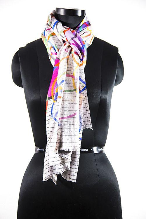 Multicolor Circle Designer Silk Scarves