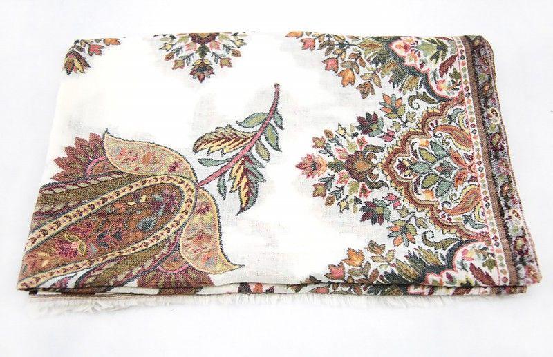 Floral White Pashmina Scarves