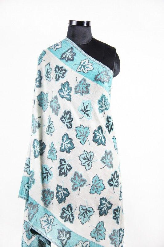 Blue White Leafy Pashmina Scarves