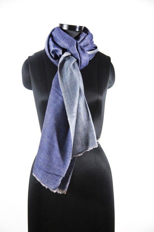 Reversible Denim Blue Grey Pashmina Scarf