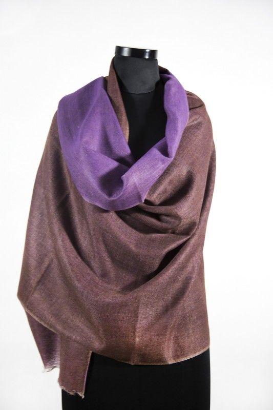 Reversible Choco Brown Purple Pashmina Scarf