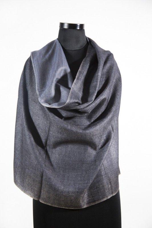 Reversible Black Grey Pashmina Scarf