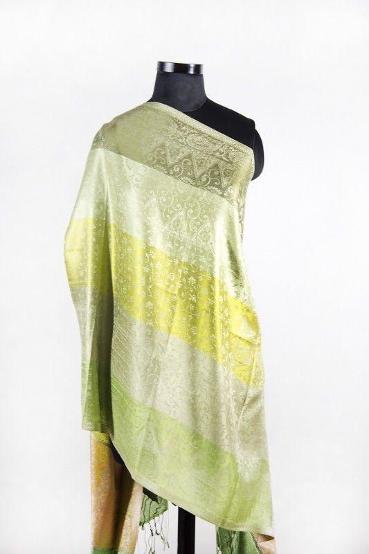 Pistachio Green Kashmir Paisley Silk Scarf