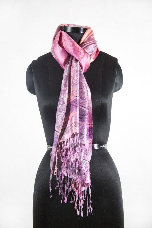 Pink Purple Kashmir Paisley Silk Scarf