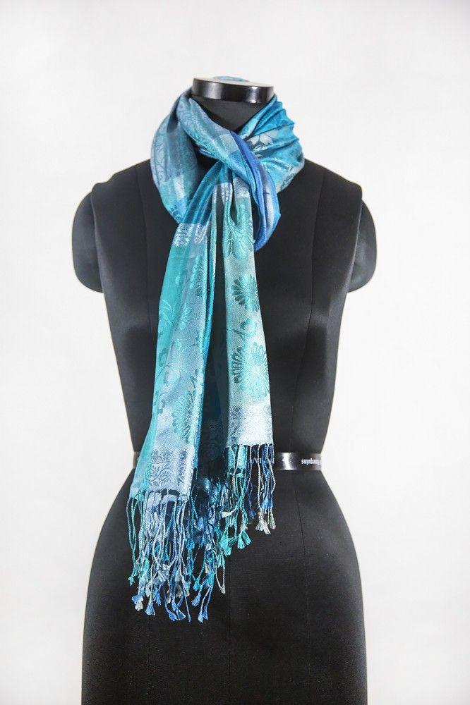 Sky Blue Designer Silk Scarves
