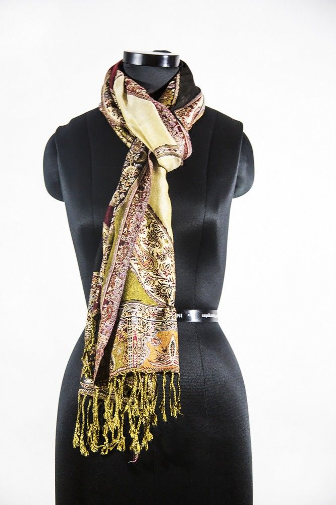 Green Maroon Paisley Fashion Scarves For Women
