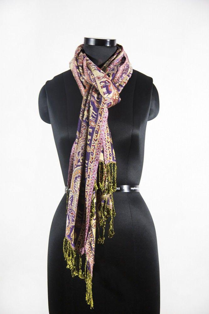 Elephant Design Purple Fashion Scarves For Women
