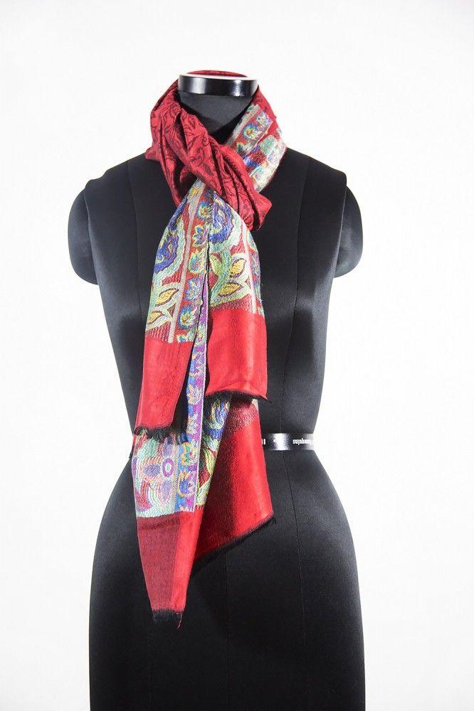Red Designer Cashmere Scarf Online