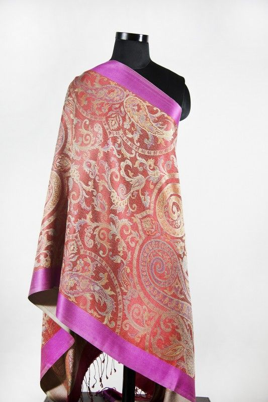 Red Purple Kashmir Paisley Silk Scarf