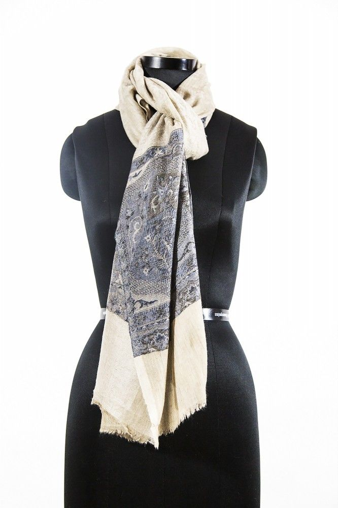 Jacquard Frontier Grey Cashmere Scarves For Women
