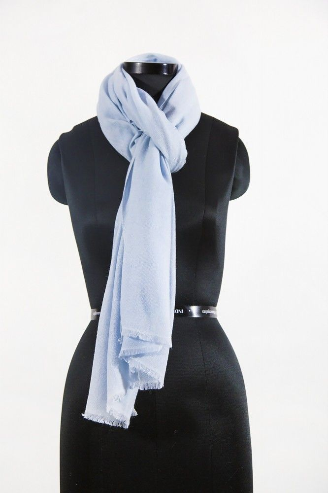 Plain Ivory Cashmere Wool Scarf