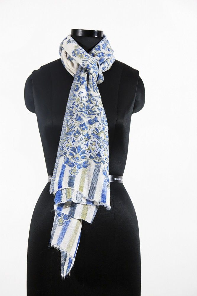 Blue White Cashmere Scarf