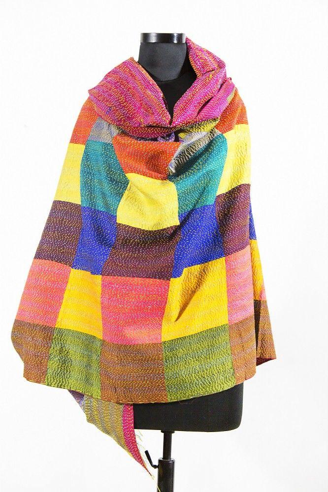 Patchwork Multicolor Silk Kantha Scarf