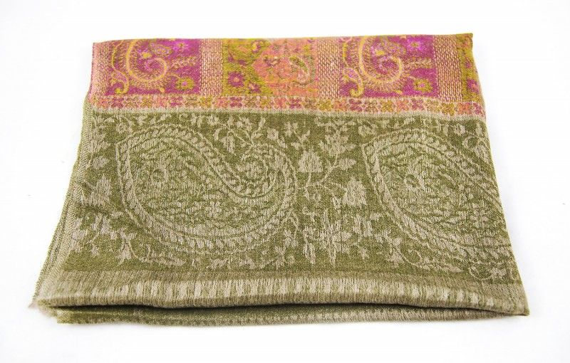 Jacquard Frontier Green Taupe 100 Cashmere Scarf