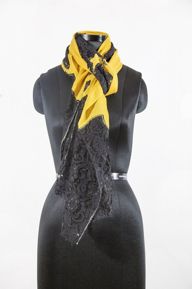 Yellow Black Cashmere Scarf Women