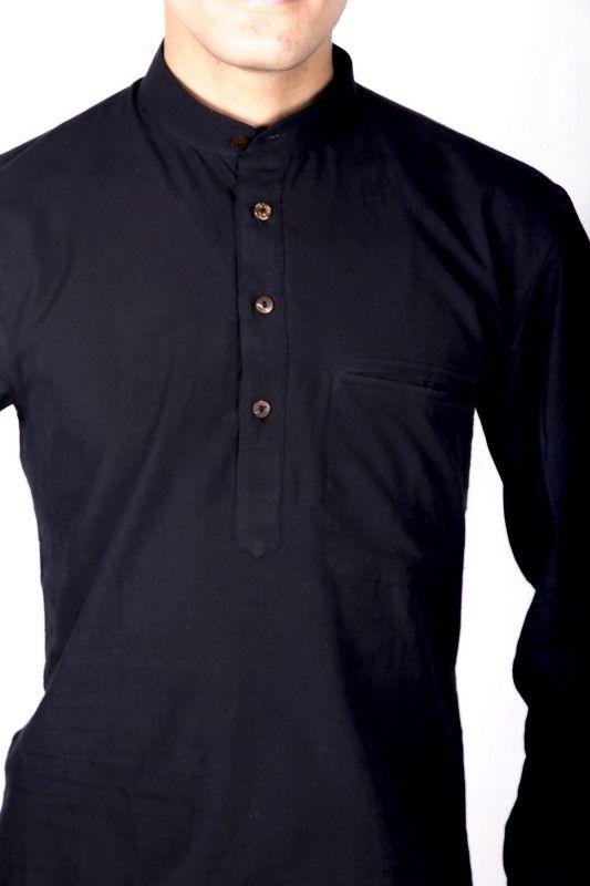 Black Mandarin Collar Shirt Men