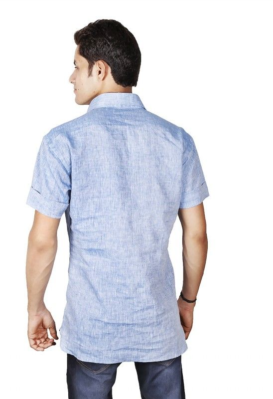 Indian V Neck Short Sleeved Linen Shirt