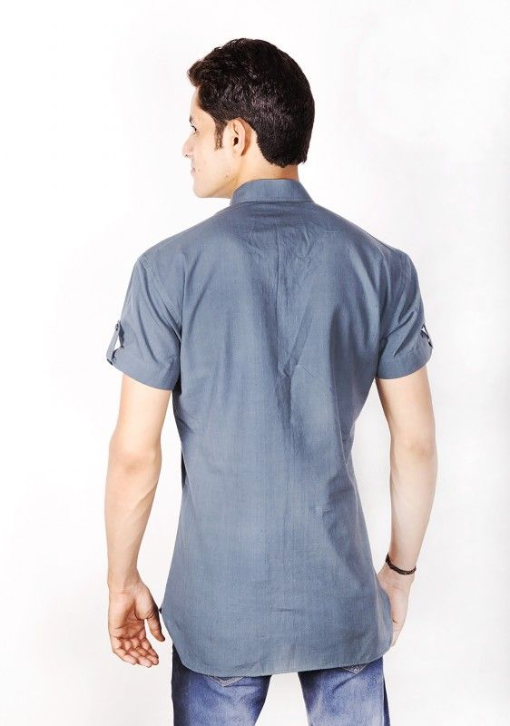 Grey Cotton Nehru Collar Shirt Men