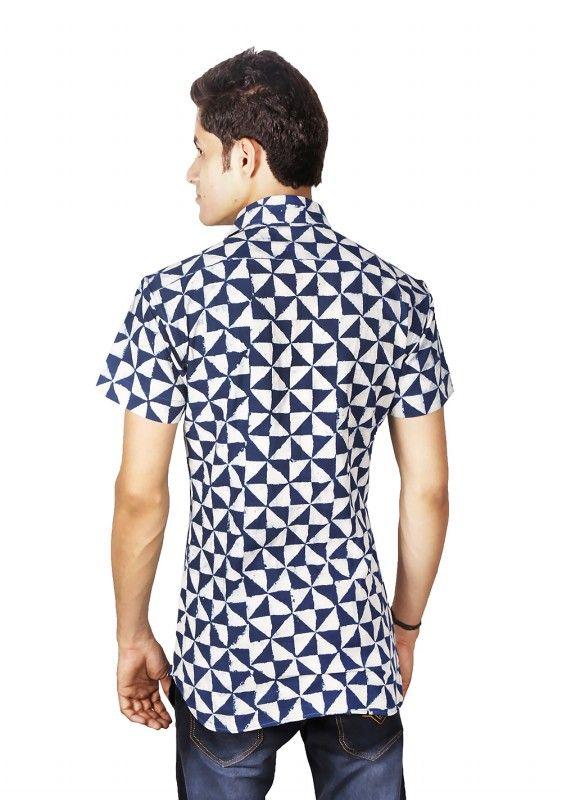 Hand Block Print Mens Collar Shirt