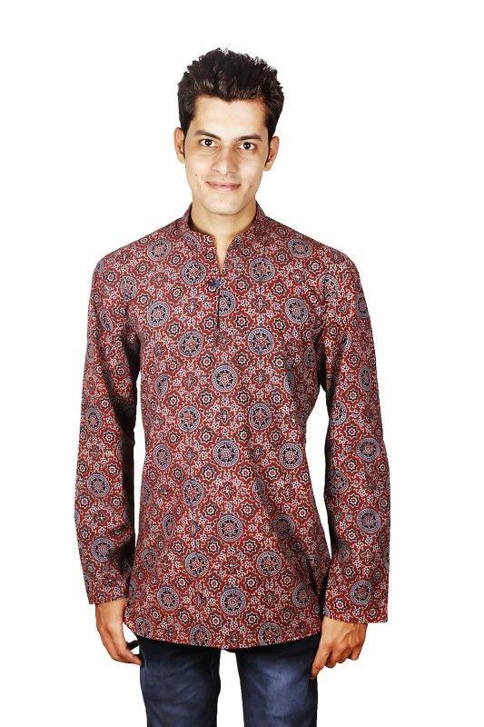 Ajrakh Print Nehru Collar Shirt