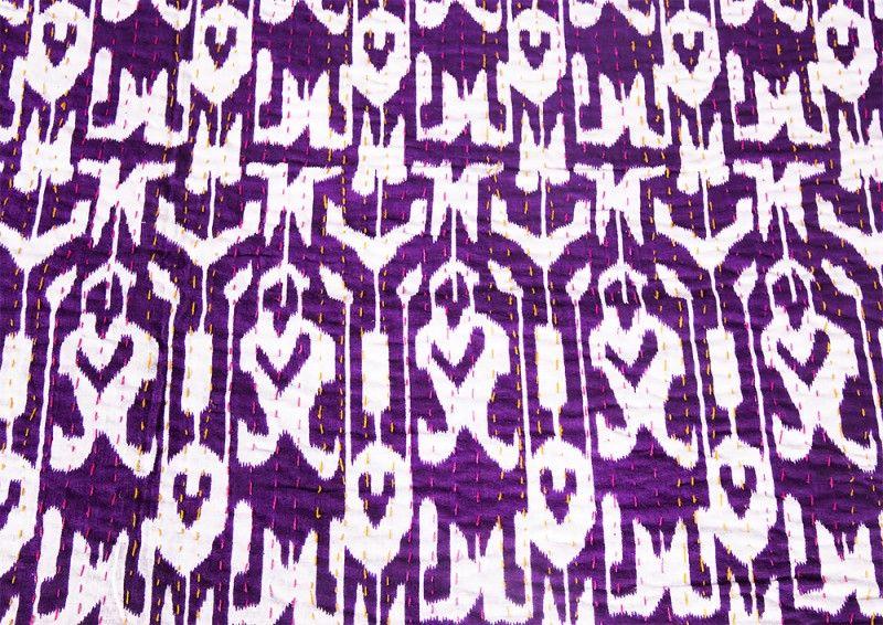 Cotton Purple White Kantha Throws