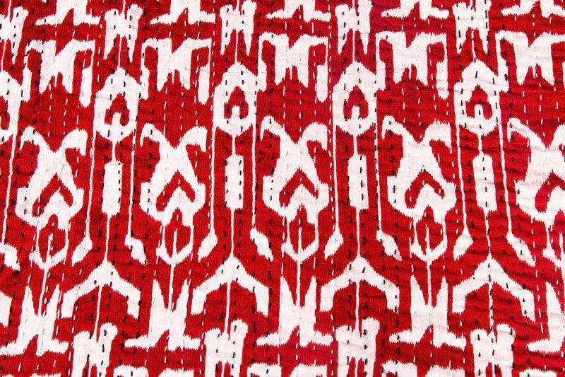 Cotton Red White Kantha Throws