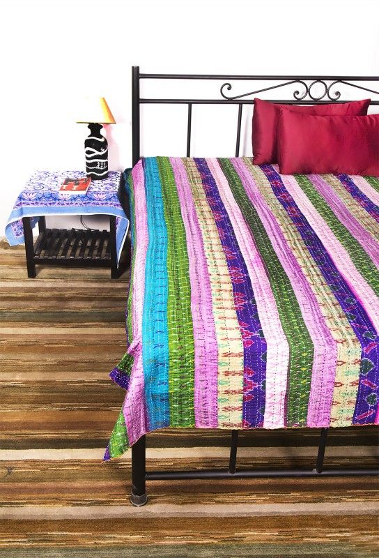 Multicolored Patch Kantha Throws