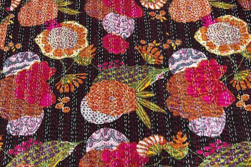 Floral Print Black Kantha Throw