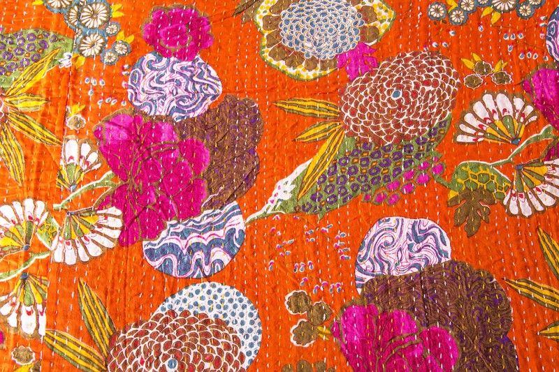 Cotton Orange Kantha Throws